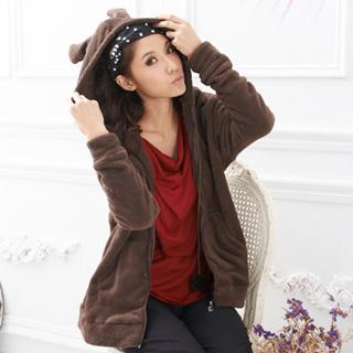Ear-accent Hooded Jacket