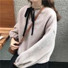 Ribbon-neck Furry Sweatshirt