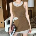 Sleeveless Plain Dress / Sleeveless Cutout Knit Dress