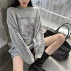 Long-sleeve Print Top Gray - One Size