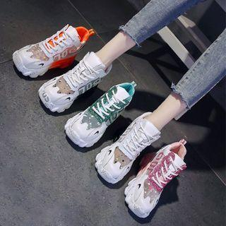 Platform Glitter Mesh Panel Lace Up Sneakers