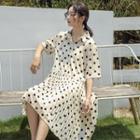 Elbow-sleeve Polka Dot Chiffon Pleated Dress