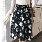 Floral Print Chiffon Flare Skirt