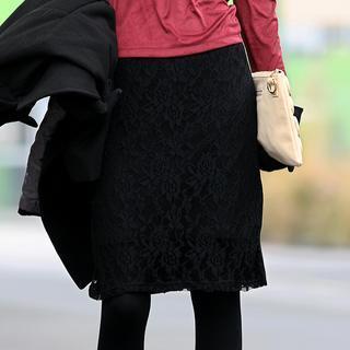 Lace Overlay Midi Skirt Black - One Size