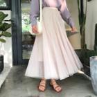Elastic-waist Mesh Skirt