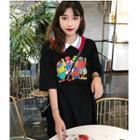 Elbow-sleeve Printed Mini Polo Shirt Dress