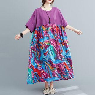 Short-sleeve Print Panel Midi A-line Dress Purple - One Size