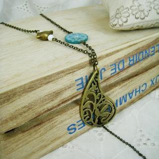 Vintage Floral Bird Necklace