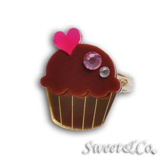 Mini Chocolate Cupcake Crystal Gold Ring (s) Gold - One Size