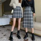 Plaid Long Pencil Skirt/ Plaid Mini Pencil Skirt