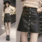 Faux-leather Button Front A-line Skirt