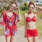 Set: Halter Bikini + Patterned Beach Cover