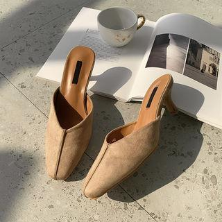 Heeled Faux-suede Mules