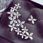 Cz Flower Asymmetrical Earrings