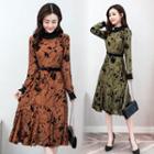Long-sleeve Lace Printed Dress