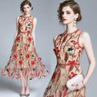 Sleeveless Floral Embroidered A-line Midi Dress