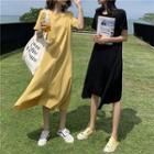 Short-sleeve Asymmetric Plain Split Hem Dress