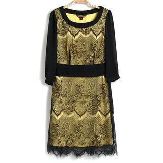 3/4-sleeve Lace Panel Dress