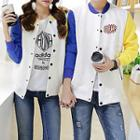 Lettering Couple Matching Baseball Jacket