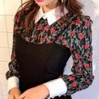 Contrast-collar Floral Crepe Blouse