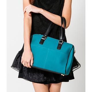 Faux Snakeskin Boston Bag Blue - One Size