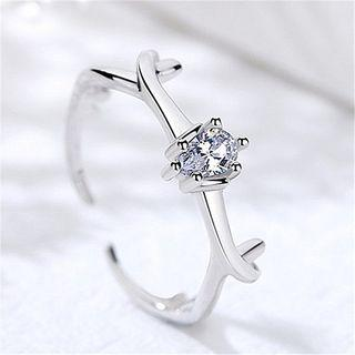 925 Sterling Silver Rhinestone Deer Horn Open Ring White - One Size