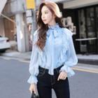 Mock Neck Frilled Ruffle Blouse