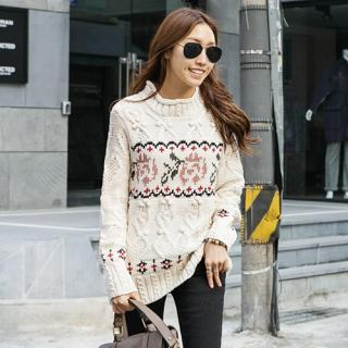 Mock-neck Patterned Knit Top