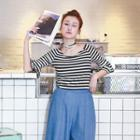 3/4-sleeve Striped Ruffled Top