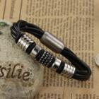 Stainless Steel Bar Faux Leather Bracelet 907 - Bracelet - One Size