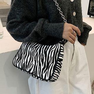 Zebra Print Chain Crossbody Bag Black - One Size