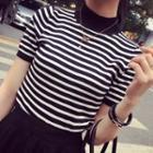 Short-sleeve Mock-neck Striped Knit Top