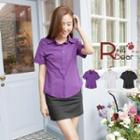 Slim-fit Short-sleeve Blouse