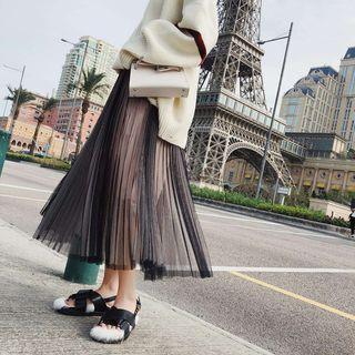 Midi Mesh Skirt Black & Pink - One Size