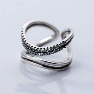 925 Sterling Silver Rhinestone Layered Open Ring S925 Silver Ring - Silver - One Size