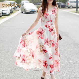Sleeveless Floral Maxi Chiffon Dress