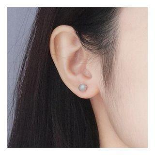 925 Sterling Silver Moonstone Bead Earring Earrings - One Size