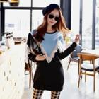 Color-block Fringed Pullover