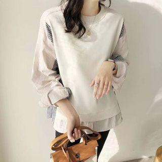 Long-sleeve Mock Two-piece Striped Panel Top