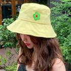 Flower Fabric Bucket Hat Neon Yellow - One Size