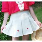 Heart Embroidered Mini Pleated Skirt