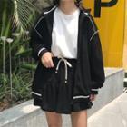Set/ Zip Jacket + A-line Mini Skirt