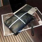 Contrast Trim Genuine Leather Clutch Black - One Size