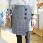 Houndstooth Wool Blend Asymmetric Wrap Skirt