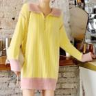 Long-sleeve Color Panel Knit Top / Long-sleeve Color Panel Knit Dress