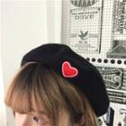 Heart Embroidered Beret Black - One Size