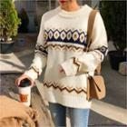 Round-neck Pattern Knit Top Ivory - One Size