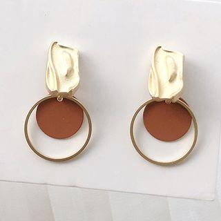 Alloy Disc & Hoop Dangle Earring 1 Pair - Gold - One Size