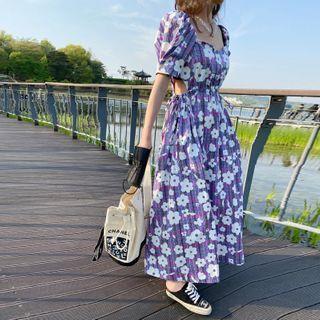 Balloon-sleeve Floral Print Midi A-line Dress Purple - One Size