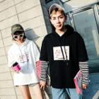 Couple Matching Long-sleeve Hooded Printed Top